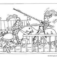 Coloriage : Chevaux au combat