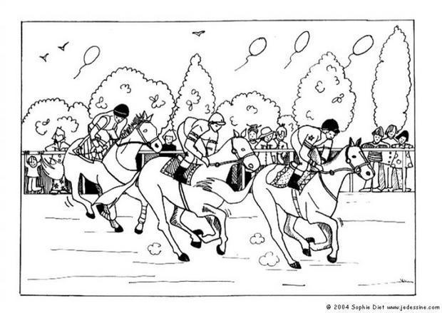 Coloriages course hippique - Coloriage de chevaux en ligne ...
