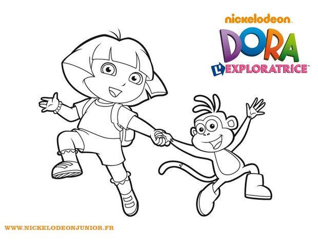Coloriage de Dora et Babouche main dans la main