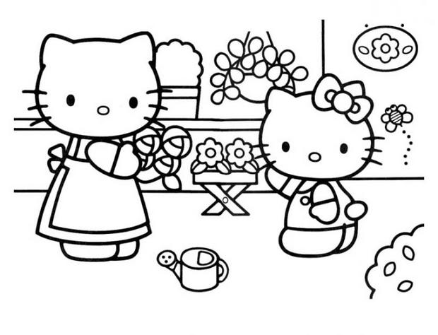 Coloriage de Hello Kitty et sa maman
