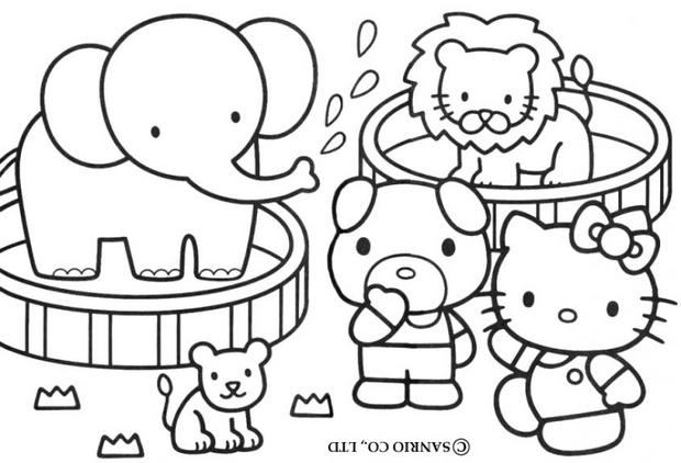 Coloriages coloriage de hello kitty et ses amis - Coloriage hello kitty jeux ...