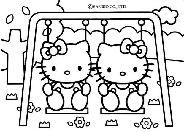Coloriages coloriage de hello kitty sur la balan oire - Coloriage hello kitty fleurs ...