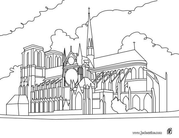 Coloriages coloriage de la cathu00e9drale notre-dame - fr.hellokids.com