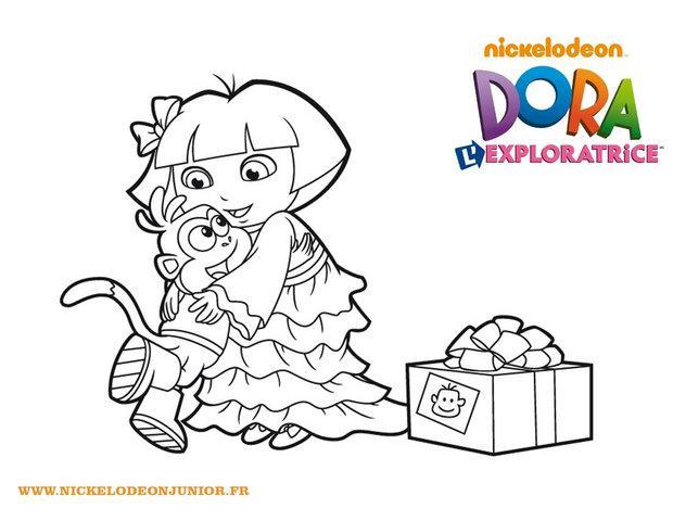Coloriages coloriage du cadeau de dora pour babouche fr - Cadeau coloriage ...