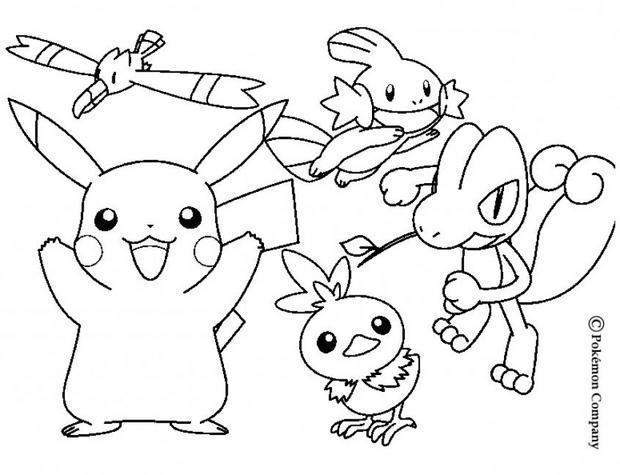 Coloriage : Goélise, Pikachu,Gobou, Poussifeu, Arcko