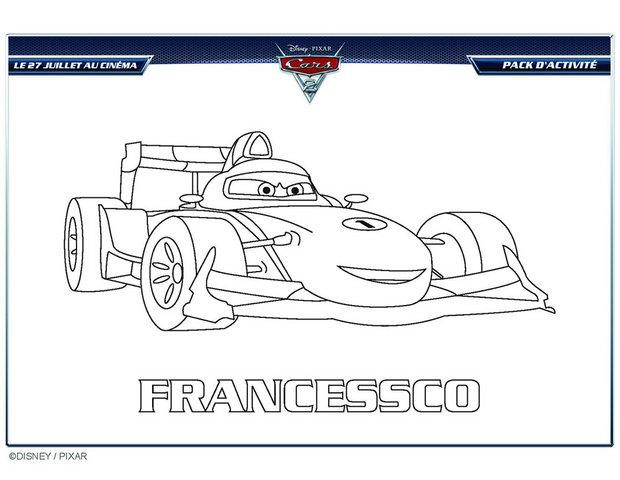 Coloriages coloriage gratuit francesco cars 2 - Coloriage cars a imprimer a4 ...