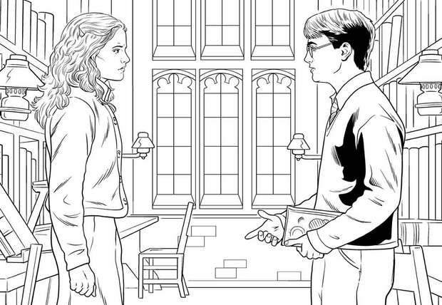 Coloriages harry et hermione en grande discussion - Coloriage harry potter ...