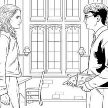 Coloriage Harry Potter : Harry et Hermione en grande discussion