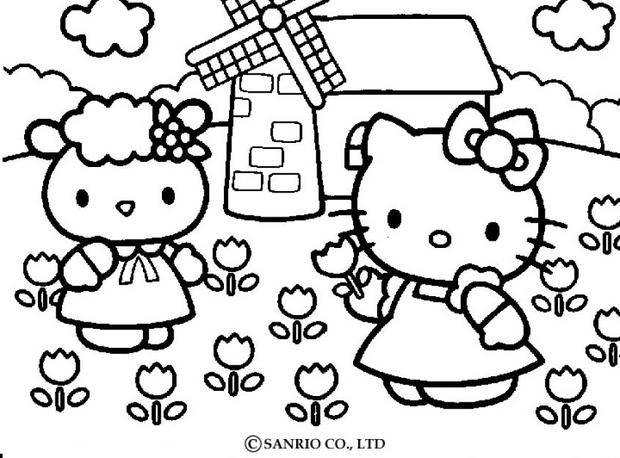 Coloriage : Hello Kitty cueille des fleurs