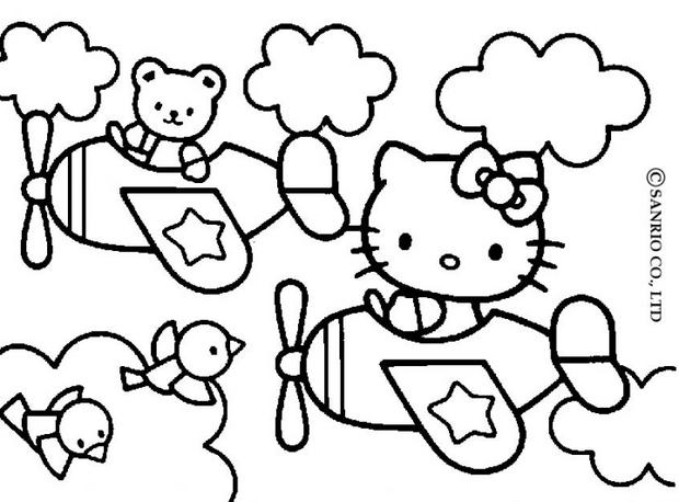 Coloriages hello kitty en avion - Coloriage hello kitty jeux ...