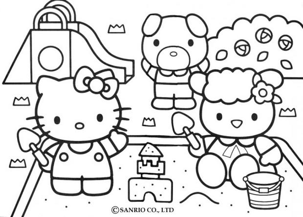 Coloriages hello kitty joue dans le sable - Coloriage hello kitty a colorier ...