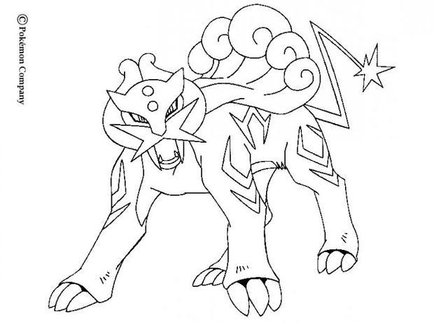 dessin à imprimer du Pokemon Raikou à l'attaque