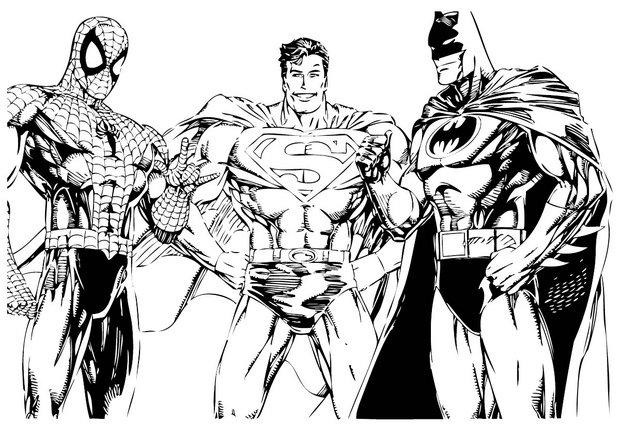 Coloriages spiderman superman et batman - Dessin super hero ...