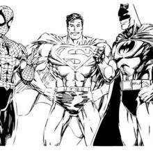 Coloriage : Spiderman, Superman et Batman