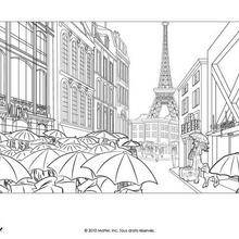 Coloriage Barbie : Barbie à Paris sous la pluie