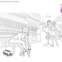 Coloriage Barbie : Barbie danseuse en répétition à colorier
