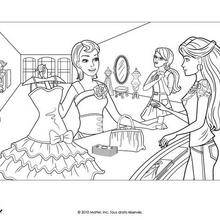 Coloriage Barbie : Barbie et sa nouvelle robe
