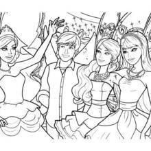 Coloriage Barbie : Barbie, Ken et ses amies les fées à colorier