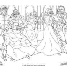 Coloriage Barbie : Coloriage d'Aramina Corinne et Renée au bal masqué avec les mousquetaires