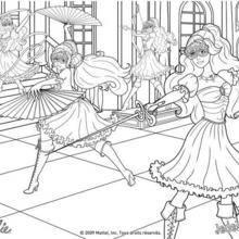 Coloriage d'Aramina Corinne et Renée en action