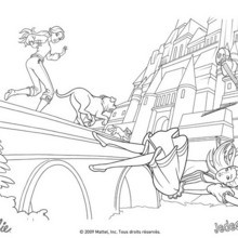 Coloriage Barbie : Coloriage d'une amie de Barbie chutant du pont