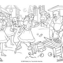 Coloriage Barbie : Coloriage d'une querelle entre Barbie et les hommes du village