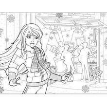 Coloriage Barbie : Coloriage de Barbie à Noël
