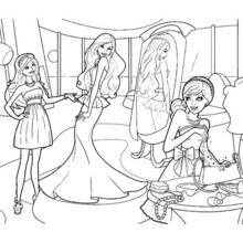 Coloriage de Barbie, Carry et Taylor