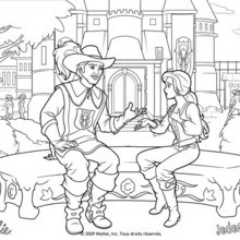 Coloriage Barbie : Coloriage de Barbie en discussion avec un mousquetaire