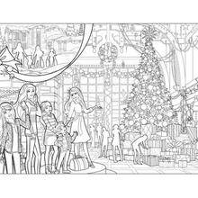 Coloriage Barbie : Coloriage de Barbie et le sapin de Noël