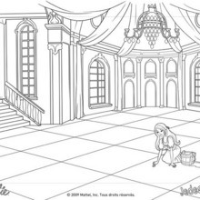 Coloriage Barbie : Coloriage de Barbie qui nettoie le palais