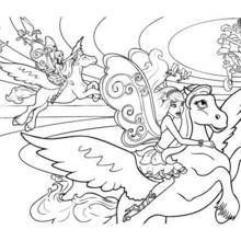 Coloriage Barbie : Coloriage de Barbie sur son Poney ailé