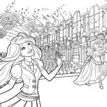 Coloriage Barbie : Coloriage de Grace, Harmony et Caprice