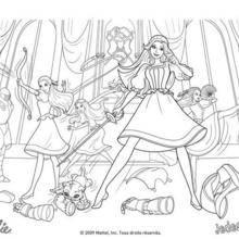 Coloriage Barbie : Coloriage des filles mousquetaires au combat