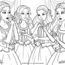 Coloriage Barbie : Coloriage des quatre amies qui se concertent