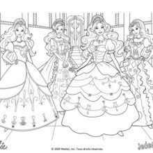 Coloriage Barbie : Coloriage des robes de bal Barbie