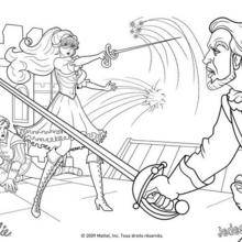 Coloriage Barbie : Coloriage du duel à l'épée