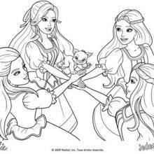 Coloriage Barbie : Coloriage du pacte Toutes pour une, une pour toutes!