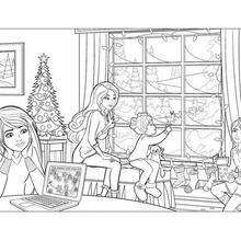 Coloriage Barbie : Coloriage gratuit de Barbie à Noël