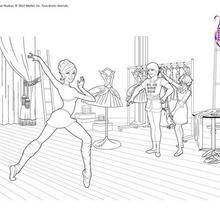 Coloriage Barbie : Coloriage répétition de danse