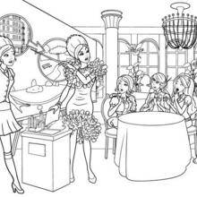 Coloriage Barbie : Delancy et ses amies à colorier