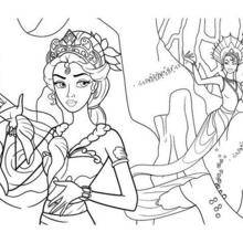 Coloriage Barbie : Eris contre Calissa