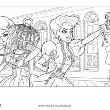 Coloriage Barbie : Grâce et Teresa à colorier