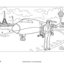 Coloriage Barbie : L'avion de Barbie et Ken