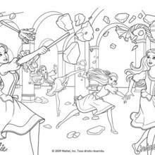 Coloriage Barbie : L'entrainement de Barbie, Aramina, Corinne et Renée