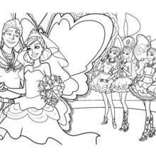 Coloriage Barbie : Le mariage de Zane et Graciella à colorier