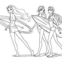 Coloriage Barbie : Merliah, Hadley et Fallon