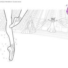 Coloriage Barbie : Pointes de Barbie danseuse à colorier