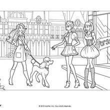 Coloriage Barbie : Teresa, Grâce et barbie à colorier