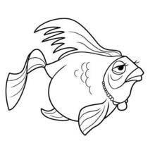 Coloriage Barbie : Un poisson avec un collier